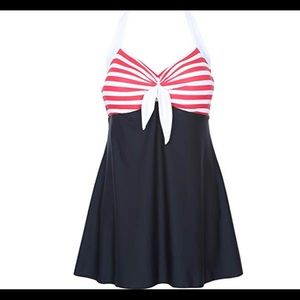 Other - Pinup Sailor Swimdress w/attached boyshort.